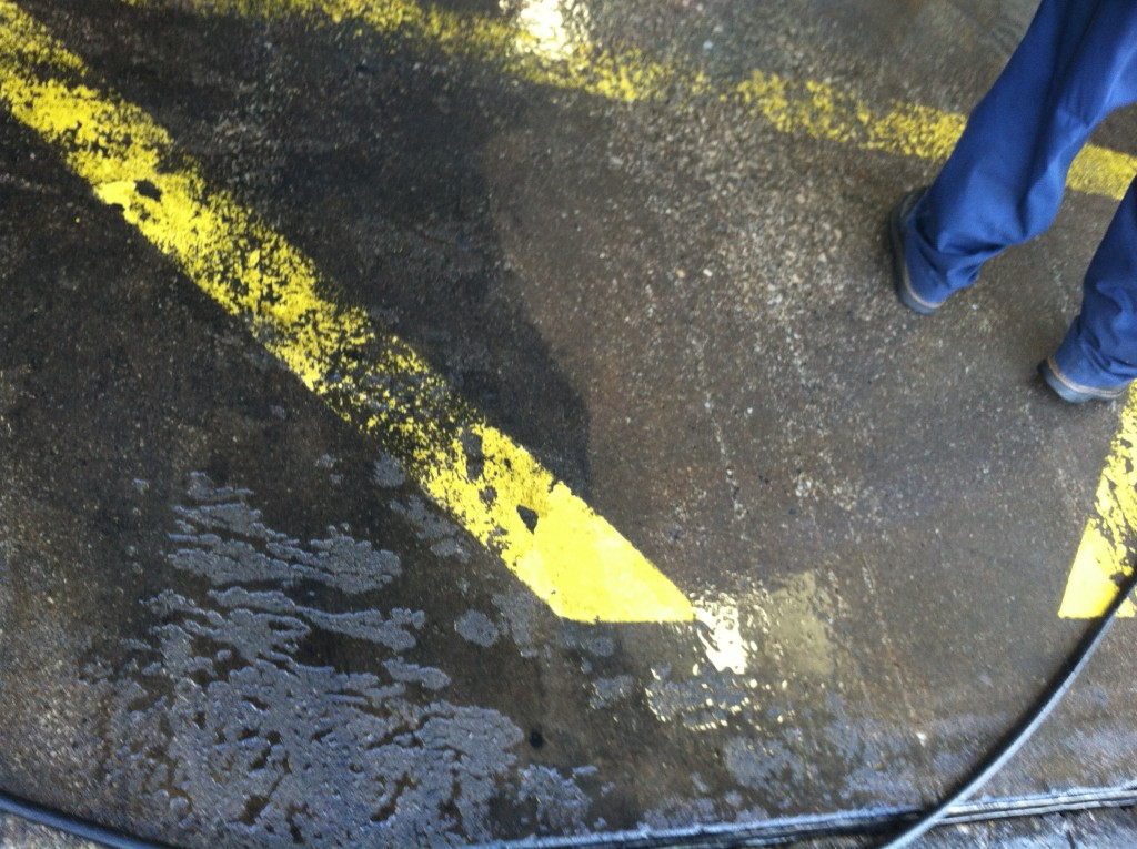 The area on the right was cleaned with Petrox EC. Traction was maintained by the special surfactant in Petrox EC.